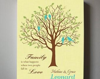 Personalized Wedding Gift, Anniversary Family Tree Print - Personalized Custom Love Birds Wedding Tree Canvas art