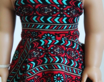 Strapless Red Print Dress for 18 Inch Dolls Such as American Girl
