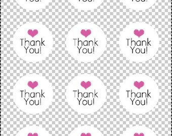 Printable Thank You Sticker Labels - Product Labels - Thank You Circle Labels - Packaging Labels