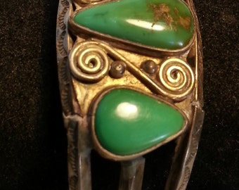 Vintage Green Turquoise and Silver Bracelet