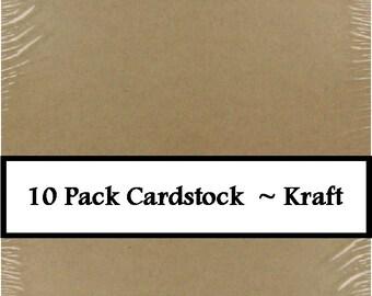 "10 Pack Cardstock Paper 8.5"" X 11"" Kraft"