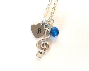 Mother's Day gift - Treble Clef charm necklace - Mum gift - Music lover gift - Initial necklace - Birthstone necklace - Gift for mum - UK