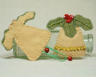 Wool Felt Christmas Bell , Bell Book Marker with Green Paperclip, Wool Felt Christmas Decoration *Ready to ship