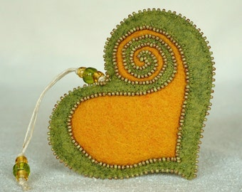 Beaded Green and Gold Wool Felt Heart Ornament #1, Mother's Day Heart, Wedding Favor, Proposal Idea, Anniversary, St.Pat's *Ready to ship