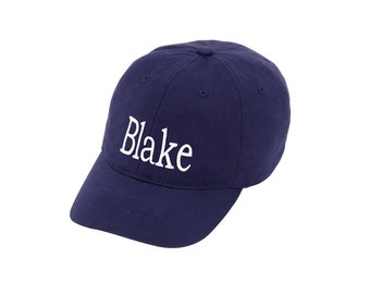 Personalized Navy Blue Kids Cap Baseball Hat Embroidered Monogram