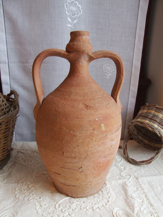 rare antique italian 1800s large clay water jug by creatodame