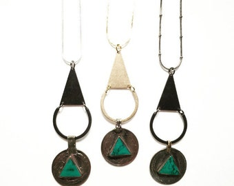 SALE-Bellydancer Turquoise Triangle and Crescent Necklace in Black or Gold with Silver, Gold, and Gunmetal Chains