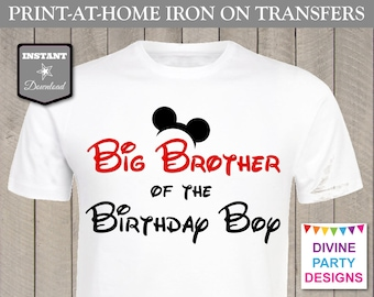 INSTANT DOWNLOAD Print at Home Mouse Big Brother of the Birthday Boy Printable Iron On Transfer / T-shirt / Family / Trip / Item #2341
