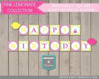 SALE INSTANT DOWNLOAD Printable Pink Lemonade Square Happy Birthday Banner / Bright Pink Lemonade Collection / Item #423