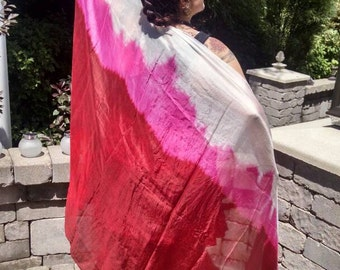 Made to order Pink and Red Fire Red Dyed Silk Veil