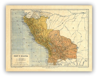 Bolivia and Peru Map Print from from 1878 Antique Map,  Bolivia and Peru before the War of the Pacific