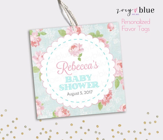 Floral Baby Shower Favors ~ Shabby chic favor tag floral baby shower thank you tags
