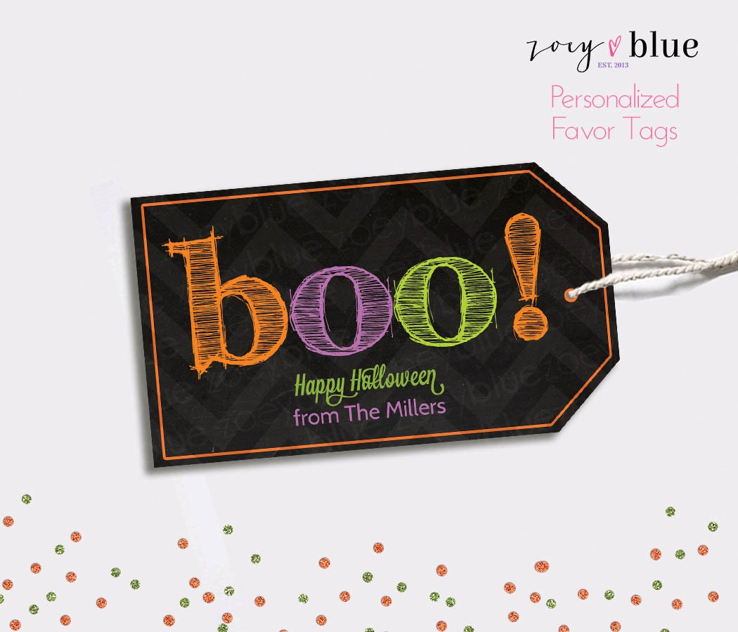 Halloween Treat Bag Tags Printable Personalized Chalkboard