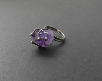 Raw amethyst stone with organic wire wrapped sterling silver ring