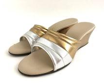 Vintage Gold Lame Silver Wedge House Slippers Lounge Shoes Slides Slip Ons 1960s Hollywood Regency Poolside