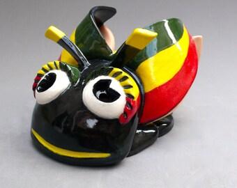 Handmade Ceramic Firefly Sculpture