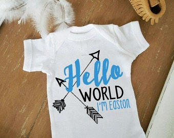 Hello World with Arrows Boho PERSONALIZED name and color Birth Announcement Neutral Bodysuit