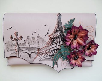 Paris boho chic bag Eiffel tower clutch Paris leather bag Paris travel bag Painted paris bag Paris gift Painted bag Travel bag Eiffel bag