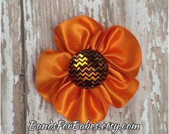 SALE Orange Chevron Hair Clip, Orange Flower Barrette, Alligator Clip, Toddler Hair Clip, Girls Hair Clip, Hair Accessory, Hair Bow, Flower