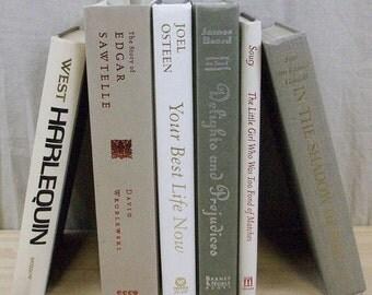 "White, Cream & Neutral Books ""Greige"" Instant Bookshelf Wedding Lot"