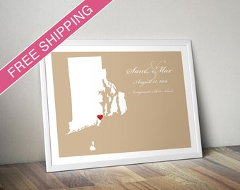 Personalized Wedding Gift : Custom Location and Map Print - Rhode Island - Engagement Gift, Housewarming Gift - Wedding Guest Book Poster