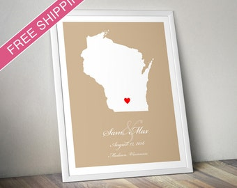 Personalized Wisconsin Wedding Gift : Custom Location and Map Print - Housewarming Gift, Wedding Guest Poster