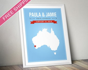 Personalized Australia Wedding Gift - Custom Map Australia Art Print, Wedding Guest Book, Engagement Gift, Mid Century Modern
