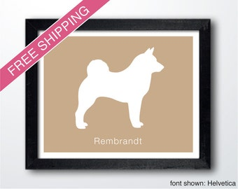 Personalized Norwegian Elkhound Silhouette Print with Custom Name - Norwegian Elkhound art, dog portrait, modern dog home decor