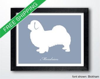Personalized Tibetan Spaniel Silhouette Print with Custom Name - Tibetan Spaniel art, dog portrait, modern dog home decor