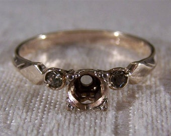 Vintage 12K Yellow Gold Filled Diamond Engagement Ring Setting Jewelry Art Deco Style **RL