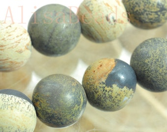 Natural Yellow Grass flower stone,matte round,beads,10mm, 15 inches