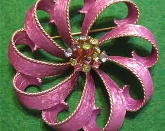 Stunning 1960's Purple Ribbon Pin With Multi Colored Rhinestones Brooch - Free Shipping