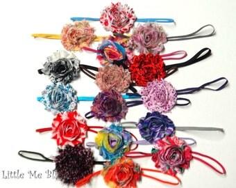 Grab Bag of 8 Shabby Flower Headbands Skinny Elastic Newborn Toddler Girl Adult Birthday Party Favor Baby Shower