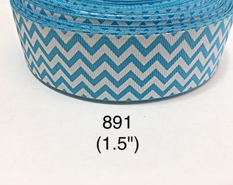 "2/3/5 yard - 1.5"" Aqua Blue and White Zig Zag Grosgrain Ribbon Hair bow"