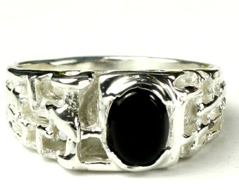 Black Onyx, 925 Sterling Silver Men's Ring, SR197