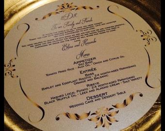 Round Menu, Circle Menu, ROUND MENU, Charger Menu, Reception Menu Cards - for weddings, bridal events, and dinner parties