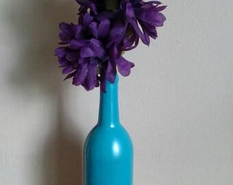 Upcycled Turquoise Wine Bottle Vase