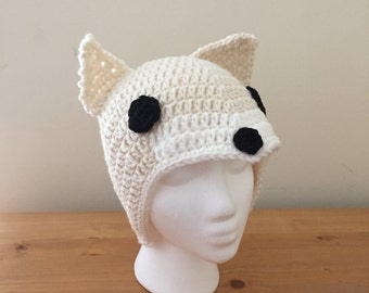 Crochet Adult Hat - Arctic White Fox - Animal - Forest - Costume  - Fashion - Handmade - Head Accessory