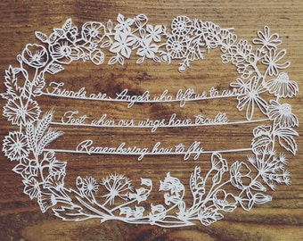 Friends quote papercutting template a4