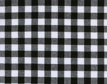 One Yard - 1 Yard of Half Inch Gingham Yarn Dyed in Black - CHECKER WOVEN BASICS by Cotton & Steel