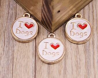 10 pcs of antique gold love badge drop oil charm pendants 18x15mm