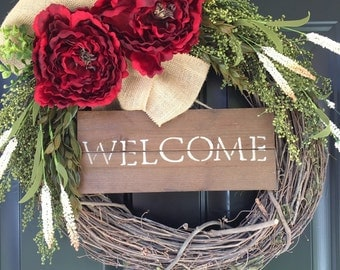 Red Peony Wreath - Welcome Wreath - Holiday Wreath - Fall Wreath - Winter Wreath - Wreath - Christmas Wreath - Gift Ideas - Burlap Wreath