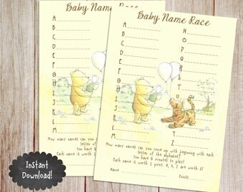 Baby Name Race Baby Shower Game, Printable Winnie the Pooh Baby Shower Game, Classic Winnie the Pooh