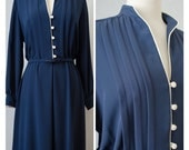 70s Adolph Schuman for I. Magnin Vintage Navy Blue Shirt Dress Appx Size Large (1970s)