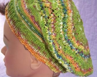 Green multi beret, Multi color beret, Wool green beret, Wool multi color beret, Wasabi green beret, Handknit beret, Green wool tam