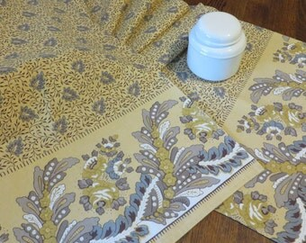 "Table Runner Golden-Beige Bluish Gray & Taupe  //  NOS Never Used  //  Cotton   //  109"" Long by 16"" Wide  //  Nicely made of Quality Fabric"
