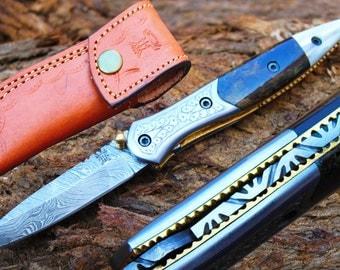 "2.8""Blade Custom Handmade Folding Knife w/Engraved Steel Bolsters, Pearl Kerinitie,File-Work,Dyed Bone &  Sheath Cover UDK-F-A33"