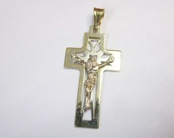 14KT Tri Color Gold Cross Charm