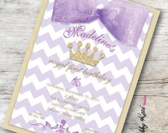 Purple and Gold Birthday Invitation First Birthday Invitation Purple and Gold Glitter
