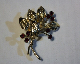 Gold and Red Leaf Brooche